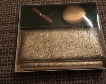 Vintage DuBarry Richard Hudnut Gold Tone Compact, Lipstick And Clutch Makeup Bag