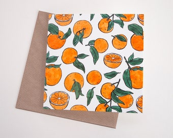 Oranges Fruit Art Greeting Card | Any Occasion | Blank Inside