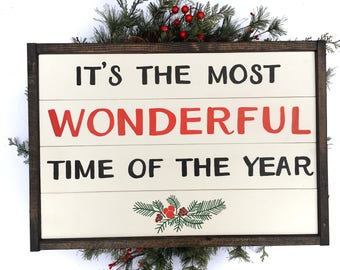 It's The Most Wonderful Time Of The Year Handcrafted Wooden Christmas Sign // Farmhouse Christmas Sign // Hand Painted Wood Sign