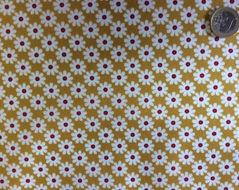 High quality cotton poplin, vintage flowers on mustard
