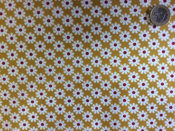 High quality cotton poplin, vintage flowers on mustard