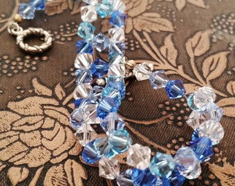 Blue Ice Swarovski Woven Bracelet
