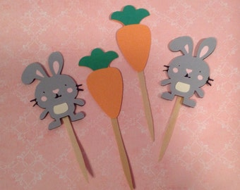 Bunny and Carrot Cupcake Toppers - Pkg of 12