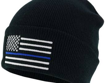Thin Blue Line American Flag Embroidered Winter Watch Cap Cuff Beanie (50342)