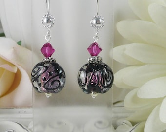 Lamp Work Earrings Black Swirls over Bright Pink Gifts for Her