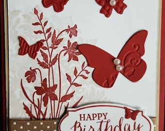 Red Butterflies Birthday Card HB18