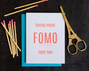 FOMO. Funny Letterpress Card - DISCOUNT PRICE!!