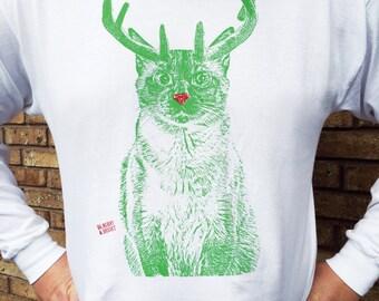 Christmas Cat TShirt LONG SLEEVE, XMAS Cat, Rudolph Cat, Christmas Sweater Alternative