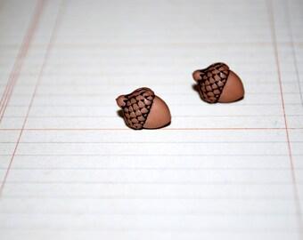 Acorn Studs -- Tiny Acorn Earrings, Tiny Acorn Studs, Fall Earrings