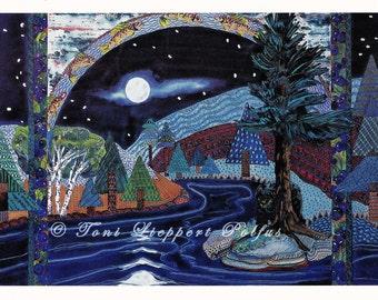 Modern Postcard, Black Bear art, Full Moon, print reproduction of original watercolor painting, northwoods landscape, cabin decor, trout art