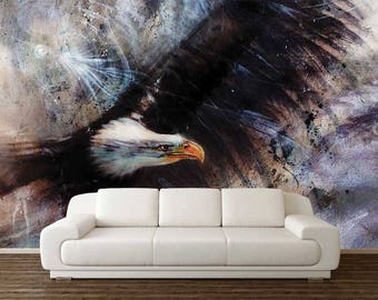 Wall Art Wallpaper, American Eagle Wallpaper, Wall Mural Eagle, Wall Mural Watercolour