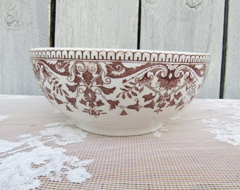 Antique English Brown Transferware Mixing Bowl, T & R Boote Bowl, English ironstone Serving Bowl, 1885 Ironstone Bowl Prairie Farmhouse Chic