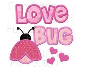 love bug ladybug applique machine embroidery design
