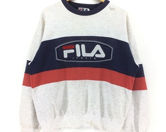 Vintage Fila Biella Italia Big Logo Embroidery Logo Large Size Sweatshirt Retro Hip Hop Rap Tees Fashion Swag zcHNOSTtBy
