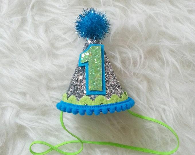 Under the Sea Mini Glittery Birthday Boy Party Hat   Boy Birthday   1st Birthday Party   Ready To Ship,