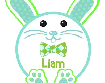 Happy Round Bunny with Bow Tie for boys iron on