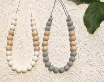 "Silicone Teething Necklace, BPA Free, Food-grade Materials // ""The Jessa"""