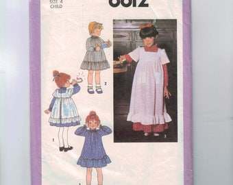1970s Vintage Sewing Pattern Simplicity 8812 Girls Ruffled Dress and Pinafore Prarie Size 4 Breast 22 1978 70s  99