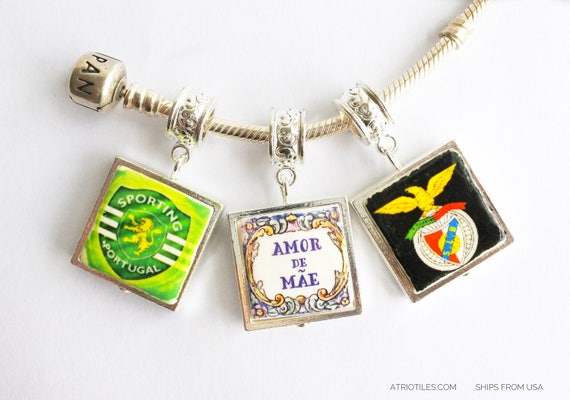 "Charm Benfica Sporting Amor da Mae SILVER Plated Pendant for EUROPEAN ""PAN.."" Brand Bracelet - Choose One - Gift Box"