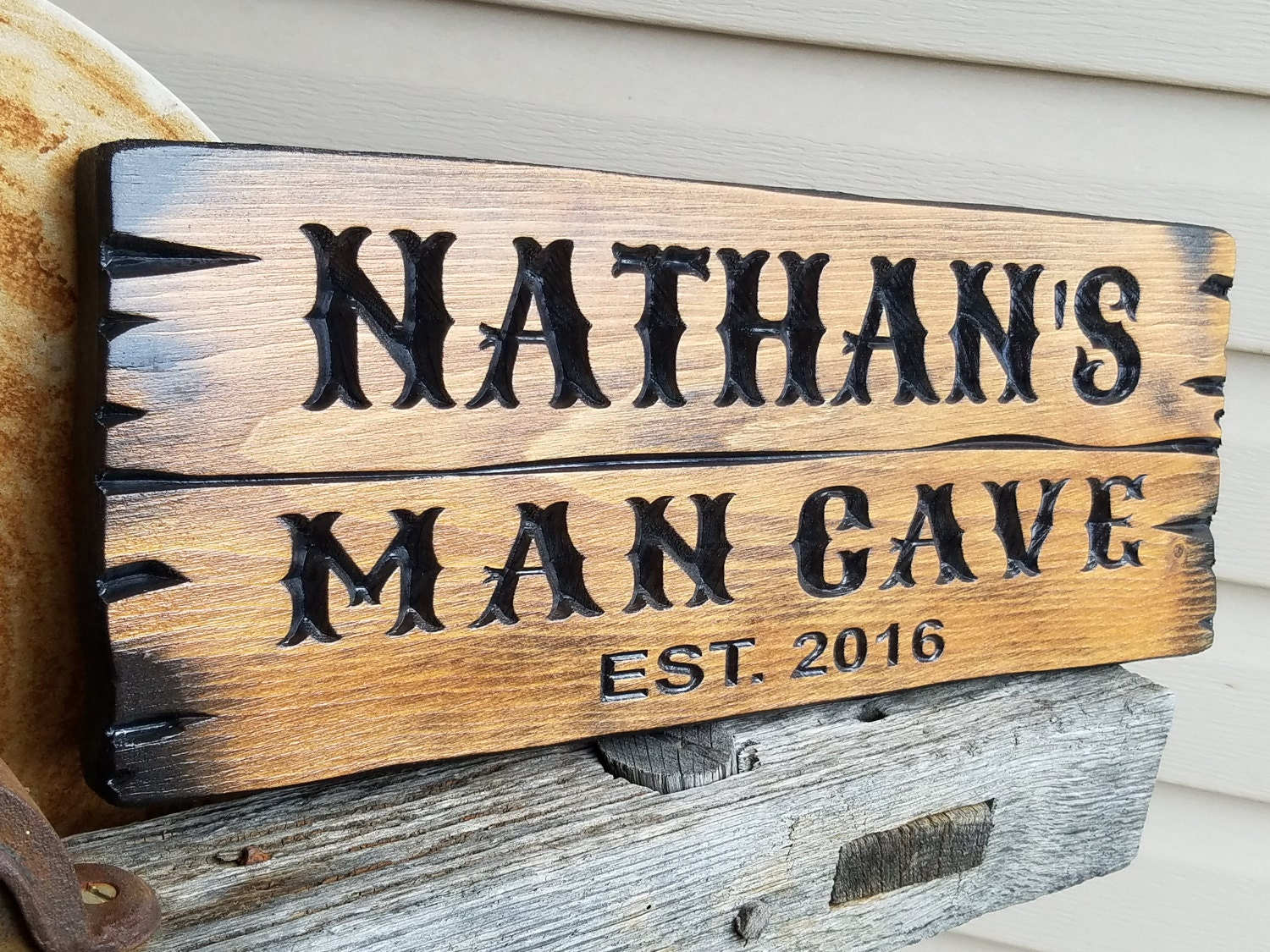 man cave barn wood style rustic personalized carved decor den. Black Bedroom Furniture Sets. Home Design Ideas