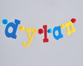 "Lower Case Felt Letter Banner w/ Pom Poms / Baby Name Garland / Birthday Smash Cake Banner / High Chair Sign / 2-3"" Lowers / Custom Colors"
