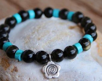 turquoise and Golden Obsidian bracelet