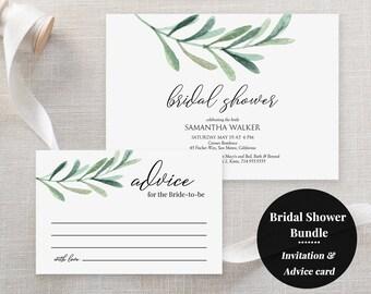 Greenery Bridal Shower printable set - Bridal Shower invitation - Advice for the Bride Card - Bundle - Green olive leaf -eucalyptus- #GD3830