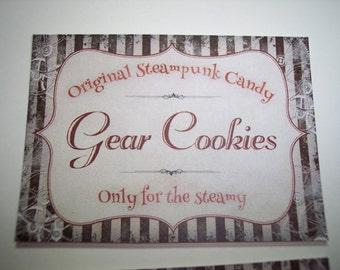 Original Steampunk Candy Sticker Labels Set of 8