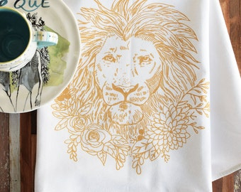 Tea Towel - Screen Print Tea Towel - Flour Sack Towels - Kitchen Towels - Lion - Organic Cotton - Tea Towel Flour Sack - Organic Tea Towels