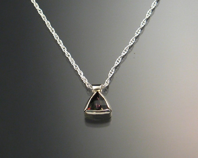 Mystic Topaz Triangle Necklace, Sterling Silver Checkerboard cut