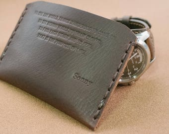 personalized walter mitty wallet, card sleeve, card wallet, custom made, hand stitched, handmade