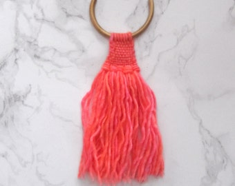 Chunky tassel necklace, woven pendant // NEON PINK WARRIOR //  textile jewelry, weaving art, statement jewelry, womens gift, hand dyed yarn