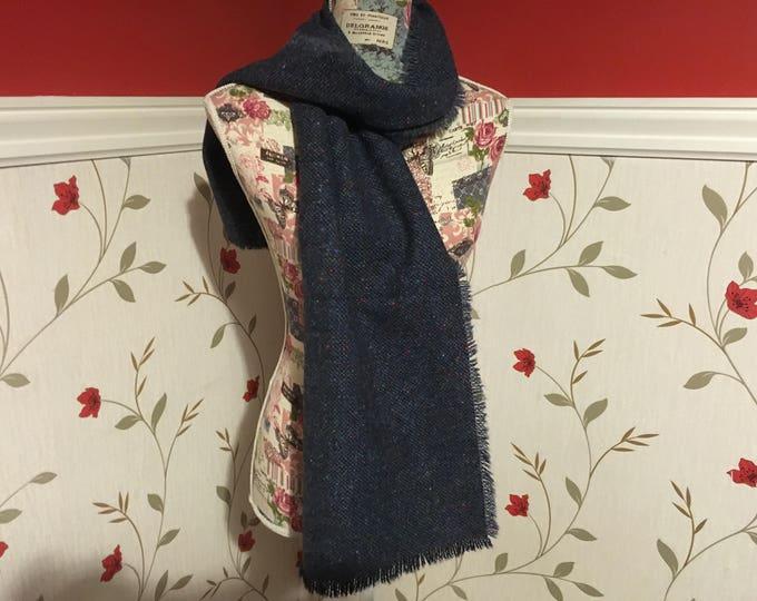 Blue Tweed Wool Scarf - Blue Tweed - 100% wool - Soft - Unisex scarf