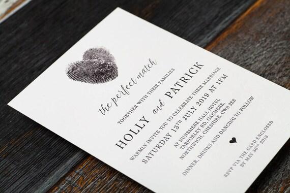Heart Wedding Invitations Uk: Fingerprint Wedding Fingerprint Heart Wedding Invitation