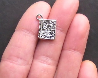 8 Book Charms Antique  Silver Tone Antique Looking Cover 2 Sided - SC962
