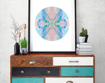 Geometric circle art print, abstract print, pink & aqua pastel wall art, modern home decor, abstract wall decor, gift idea, nursery wall art