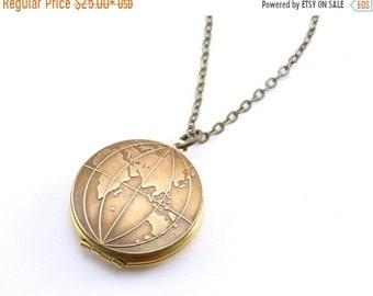 20%OFF SALE Old World Globe Locket, Vintage Locket Necklace, Globe Necklace, East, West or Double Sided you choose