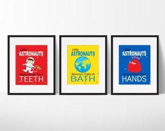 Outer Space Bathroom Prints, Bathroom Print, Boys Bathroom