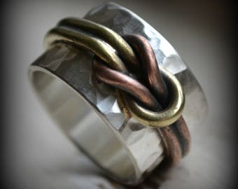 mens wedding band, square knot ring, rustic sterling silver, copper and brass ring - handmade artisan designed wedding band, rock climber