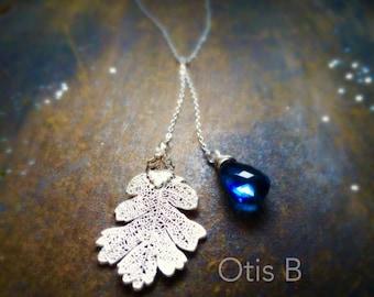 Custom Leaf Necklace, London blue topaz, Lariat necklace, real leaf necklace, leaf jewelry, custom gemstone necklace, otis b, briguysgirls