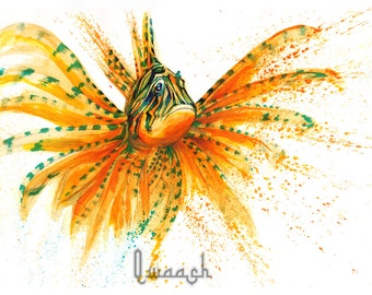 Orange and Teal Lion-fish Print from Original Mixed Media piece, Home decor wall art.