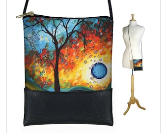 MadArt  Sling bag, mini crossbody bag fits iPhone 6 Plus, small shoulder bag purse, Aqua Burn moon tree of life blue orange yellow black RTS