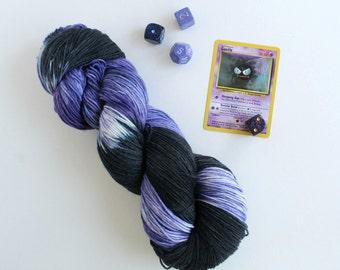 Hand dyed yarn Lastly Gastly -  hand dyed sock yarn - sock yarn - variegated yarn - pokemon yarn - geek yarn - hand painted yarn