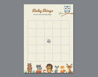 Baby Bingo Game Cards Printable, Woodland Baby Shower Bingo Cards, Empty Bingo Cards, Download Baby Shower Games, Forest Animals, B009