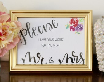 Gold Framed Wedding Signs for Table