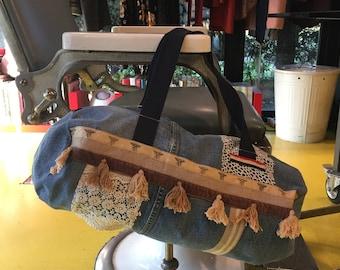 SALE !!Handmade big bag, shopping bag, vintage fabric, sport sac, sport bag,vintage denim bag , beach big bag, vintage jeans