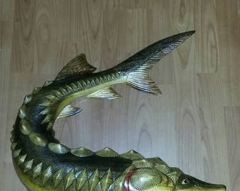 Sturgeon fish sculpture