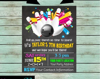 Kids bowling party etsy bowling bowl pins ball birthday party chalkboard invitations invites we print and mail to filmwisefo Image collections
