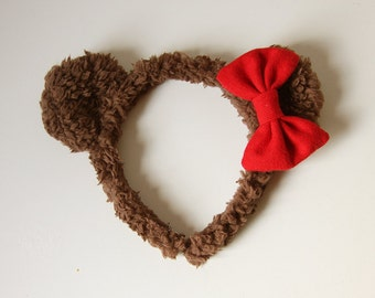 Fuzzy Bear Ears Headband - Sweet Lolita Brown Red Accessory