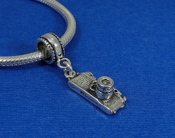 Digital Camera European Dangle Bead Charm - Sterling Silver Camera Charm for European Bracelet